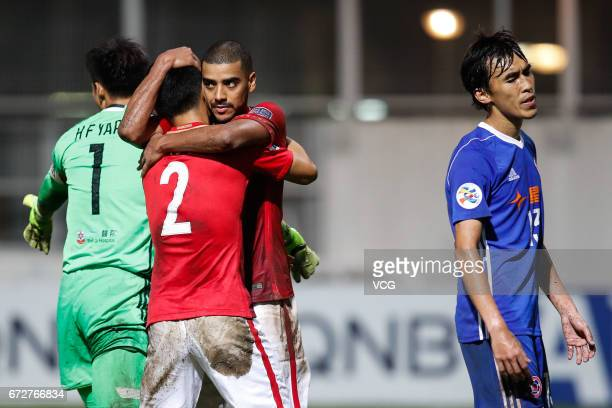 Alan Carvalho of Guangzhou Evergrande celebrates after his second goal during 2017 AFC Champions League group match between Eastern Sports Club and...