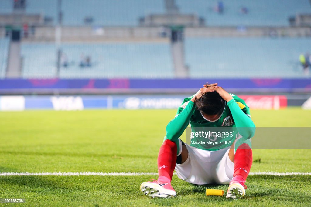 Alan Cervantes of Mexico reacts after his team lost to England 1-0 in the FIFA U-20 World Cup Korea Republic 2017 Quarter Final match at Cheonan Baekseok Stadium on June 5, 2017 in Cheonan, South Korea.