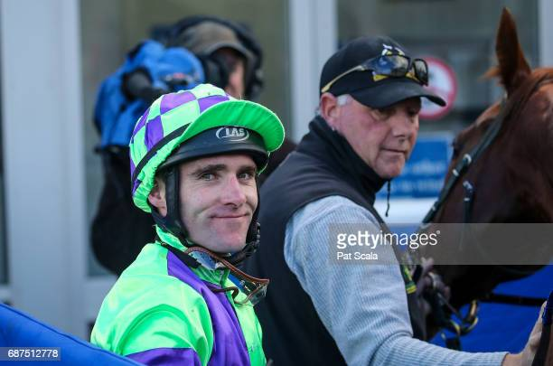 Alan Creighton returns to the mounting yard on Mesclun after winning Ableworks Maiden Plate at SportsbetBallarat Racecourse on May 24 2017 in...