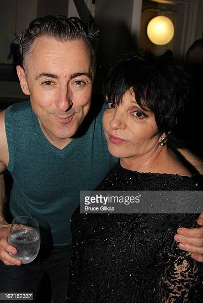 Alan Cumming and Liza Minnelli pose backstage on opening night of 'Macbeth' on Broadway at The Ethel Barrymore Theatre on April 21 2013 in New York...