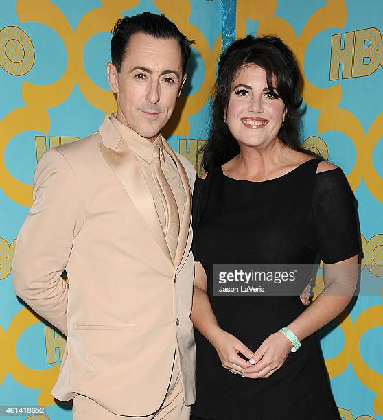 Alan Cumming and Monica Lewinsky attend HBO's post Golden Globe Awards party at The Beverly Hilton Hotel on January 11 2015 in Beverly Hills...