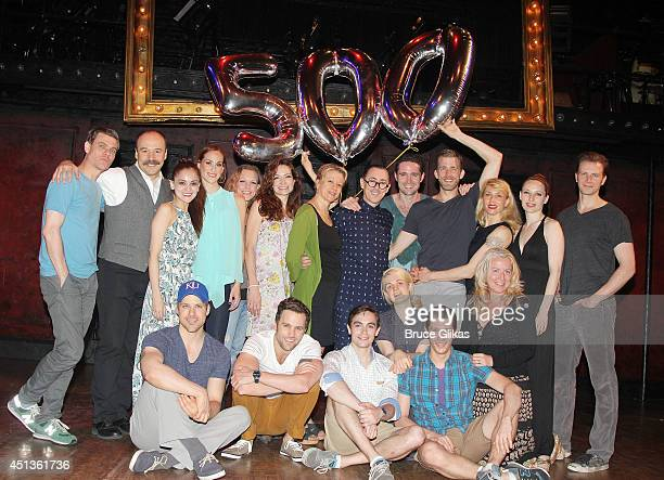 Alan Cumming and the cast celebrate Alan's Tony Winning 500 1/2 performances as 'The Emcee' in 'CABARET' at Studio 54 on June 27 2014 in New York...