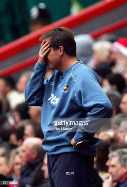 Alan Curbishley manager of West Ham United reacts during the Barclays Premiership match between Charlton Athletic and West Ham United at The Valley...
