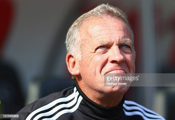 Alan Curtis assistant manager of Swansea City during the Barclays Premier League match between Swansea City and Everton at the Liberty Stadium on...