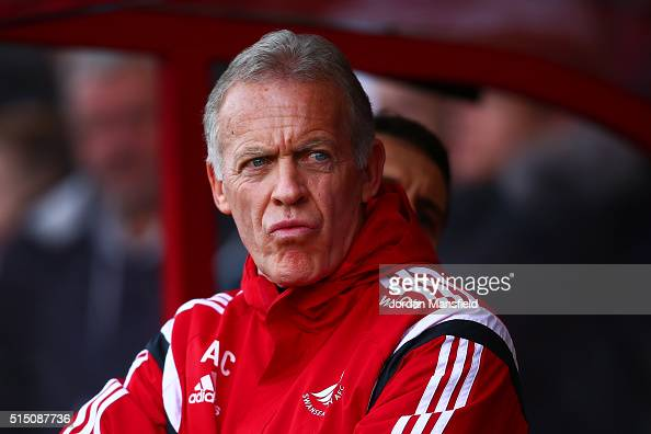 Alan Curtis assistant manager of Swansea City looks on prior to the Barclays Premier League match between AFC Bournemouth and Swansea City at...