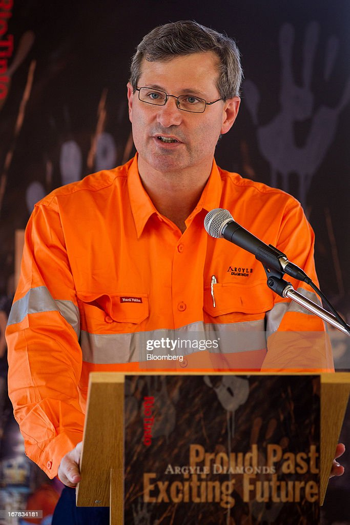 Alan Davies, chief executive officer of diamonds and minerals at Rio Tinto Group, speaks during the opening ceremony of the company's underground expansion of the Argyle diamond mine in Kimberley, Australia, on Tuesday, April 30, 2013. Production at Argyle, which supplies more than 90 percent of the world's pink diamonds, will rise to 20 million carats annually as production moves underground, while costs will fall. Photographer: Ian Waldie/Bloomberg via Getty Images