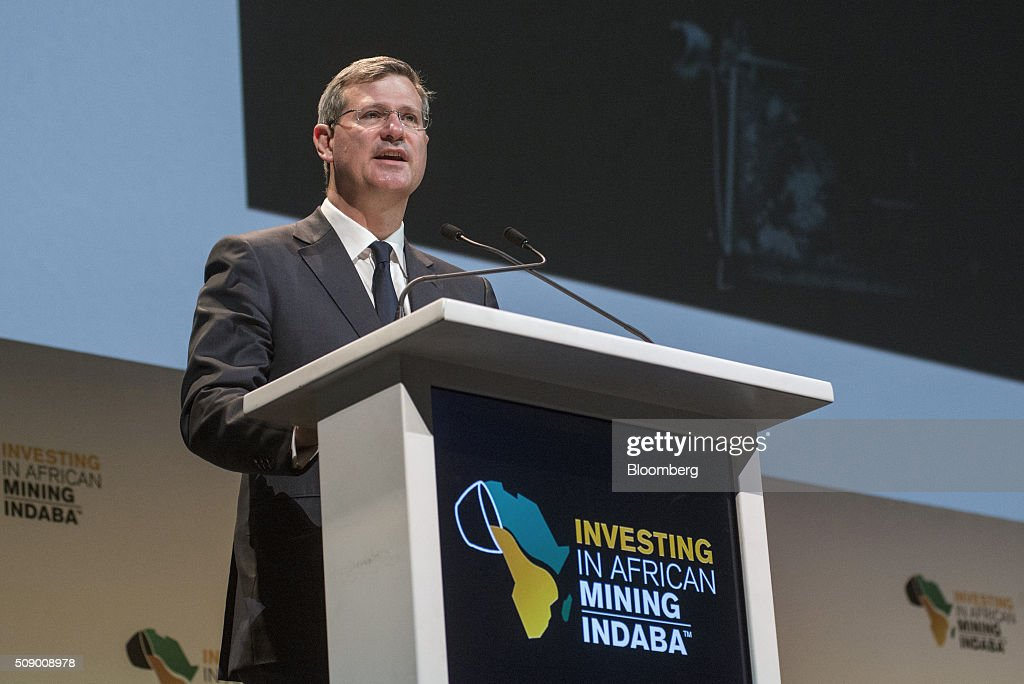 Alan Davies, chief executive officer of diamonds and minerals at Rio Tinto Plc, speaks on the opening day of the Investing in African Mining Indaba in Cape Town, South Africa, on Monday, Feb. 8, 2016. With many miners battling to stay afloat, fewer are willing to shell out 1,140 pounds ($1,641) for the Investing in African Mining Indaba conference in South Africa and business-class airfare. Photographer: Waldo Swiegers/Bloomberg via Getty Images
