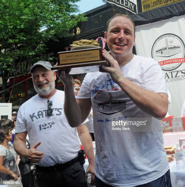 Alan Dell and Joey Chestnut attends the Katz's Deli Pastrami Eating Contest celebrating its 125th Anniversary at the 2013 Daylife Outdoor Festival on...
