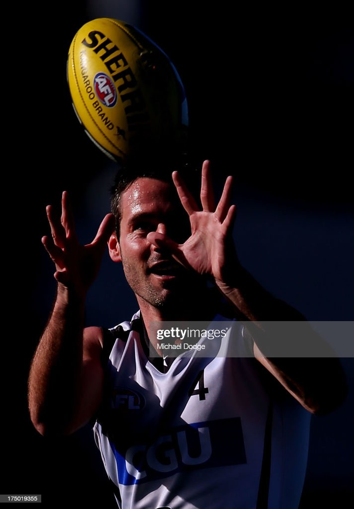Alan Didak marks the ball during a Collingwood Magpies AFL training session at Olympic Park on July 30, 2013 in Melbourne, Australia.