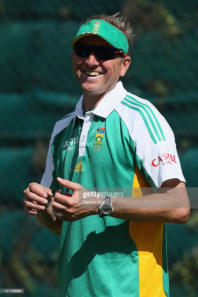 Alan Donald of South Africa shares a laugh in the nets during a South African team training session at Seddon Park on March 13, 2012 in Hamilton, New Zealand.