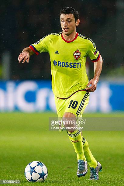 Alan Dzagoev of CSKA in action during the group B UEFA Champions League match between PSV Eindhoven and CSKA Moscow held at Philips Stadium on...