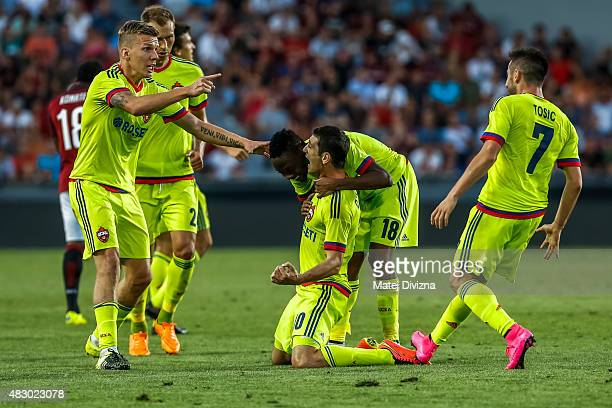 Alan Dzagoev of CSKA Moscow celebretes his goal with his teammates during the UEFA Champions League Third Qualifying Round 2nd Leg match between...