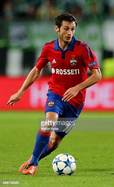 Alan Dzagoev of Moscow runs with the ball during the UEFA Champions League group B match between VfL Wolfsburg and CSKA Moscow at Volkswagen Arena on...