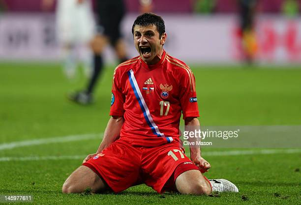 Alan Dzagoev of Russia celebrates scoring their third goal during the UEFA EURO 2012 group A match between Russia and Czech Republic at The Municipal...