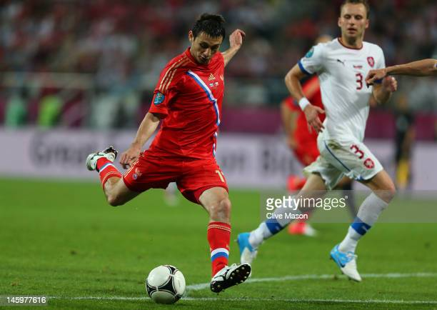 Alan Dzagoev of Russia scores their third goal during the UEFA EURO 2012 group A match between Russia and Czech Republic at The Municipal Stadium on...