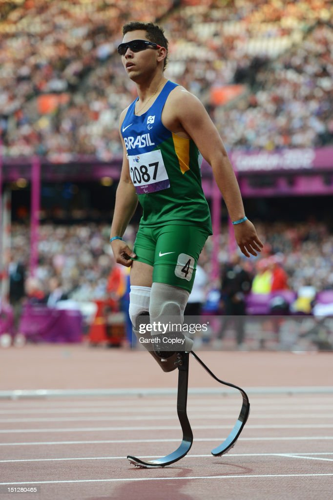 Alan Fonteles Cardoso Oliveira of Brazil looks on after the Men's 100m T44 heats on day 7 of the London 2012 Paralympic Games at Olympic Stadium on...