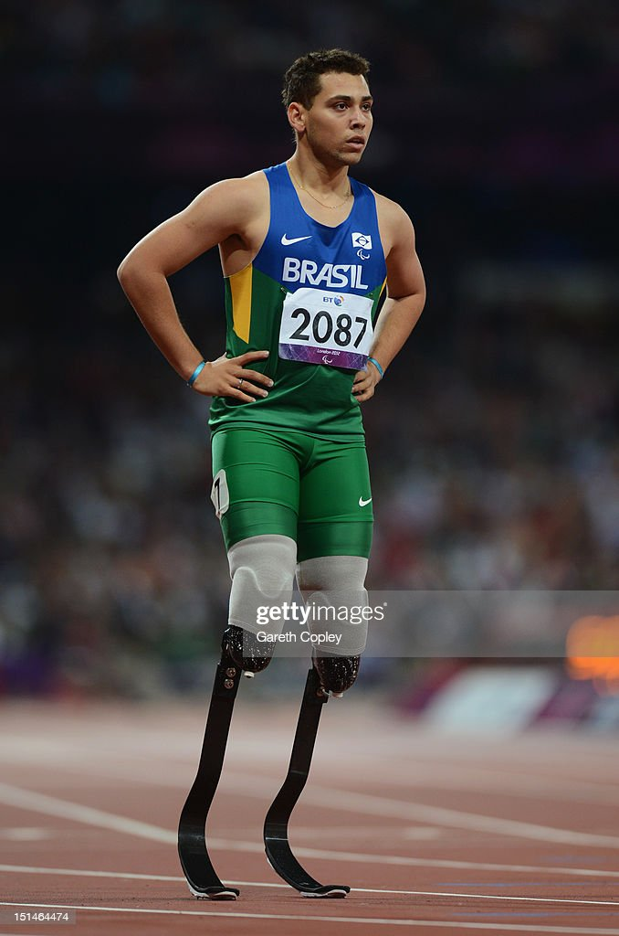 Alan Fonteles Cardoso Oliveira of Brazil looks on after the Men's 400m T44 heats on day 9 of the London 2012 Paralympic Games at Olympic Stadium on...
