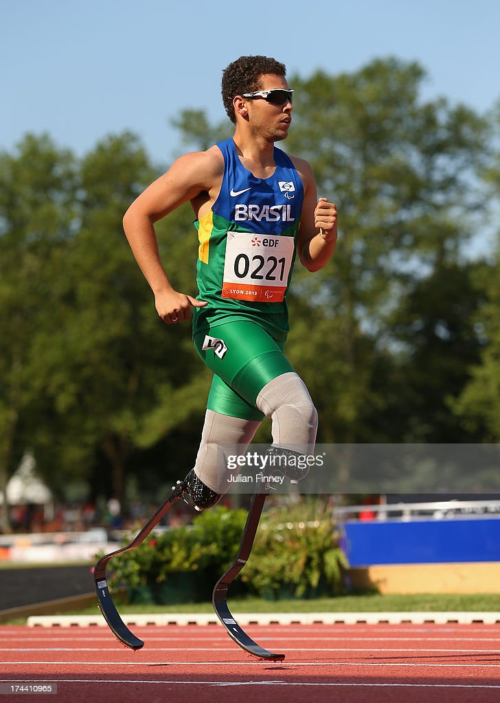 Alan Fonteles Oliveira of Brazil in action in the Men's 400m T44 semi final during day six of the IPC Athletics World Championships on July 25 2013...