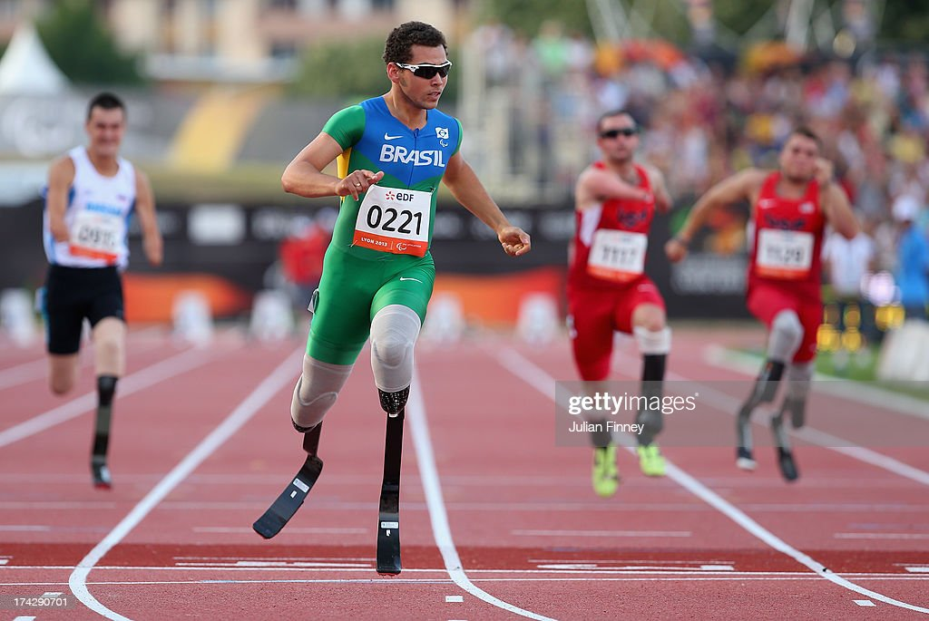 Alan Fonteles Oliveira of Brazil wins the Men's 100m T43 final during day four of the IPC Athletics World Championships on July 23 2013 in Lyon France