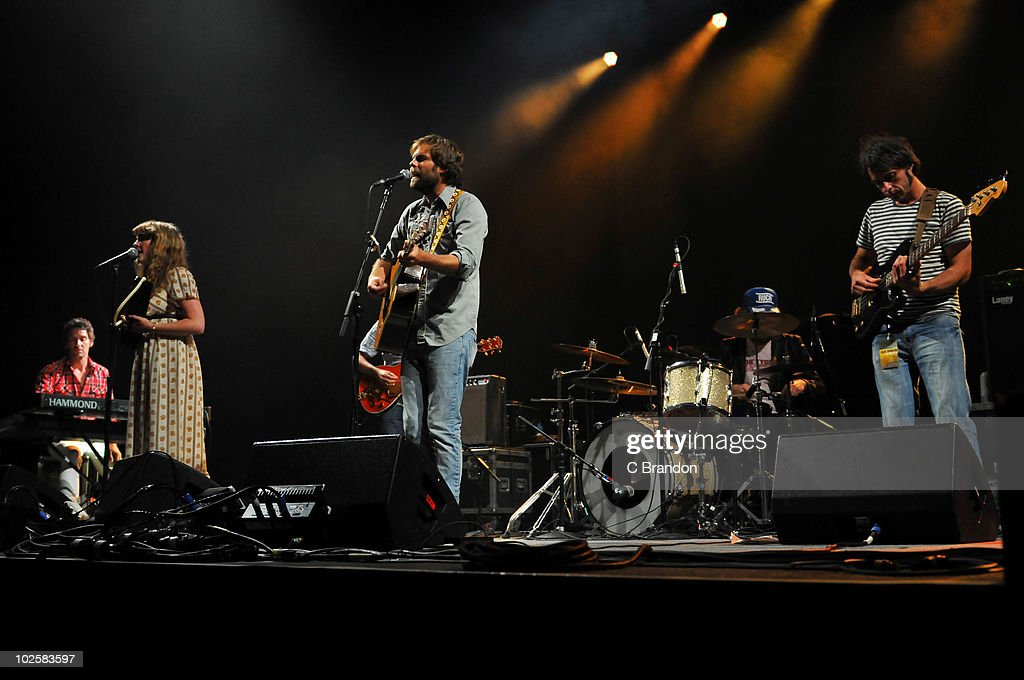 Alan Forester, Rachel Goswell, Neil Halstead and Ian McCutcheon of Mojave 3 perform on stage at O2 Arena on June 30, 2010 in London, England.