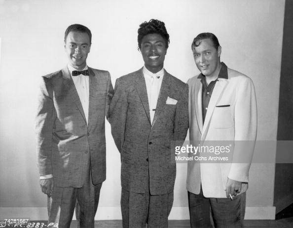 Alan Freed Little Richard and Bill Haley pose for a publicity portrait for the Columbia Pictures film 'Don't Knock the Rock' in 1956 in Los Angeles...