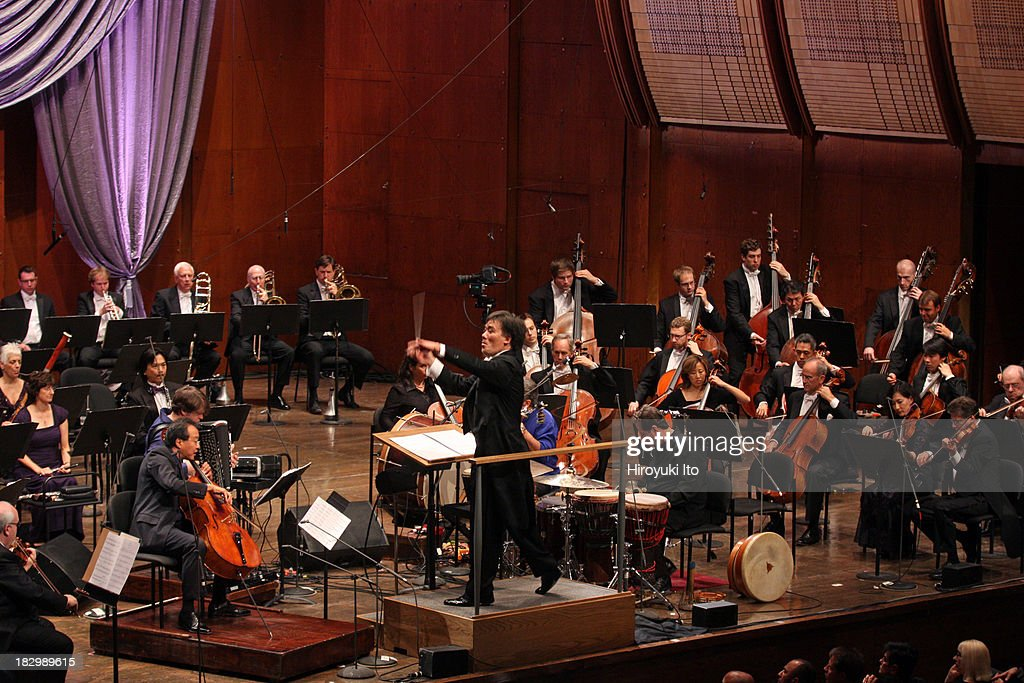 Alan Gilbert leading the New York Philharmonic at the opening gala concert at Avery Fisher Hall on Wednesday night September 25 2013This imageYoYo Ma...
