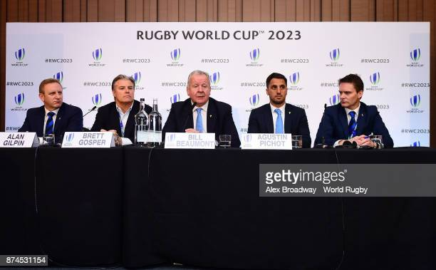 Alan Gilpin Head of Rugby World Cup Brett Gosper CEO of World Rugby Bill Beaumont and Agustin Pichot attend a press conference following the Rugby...