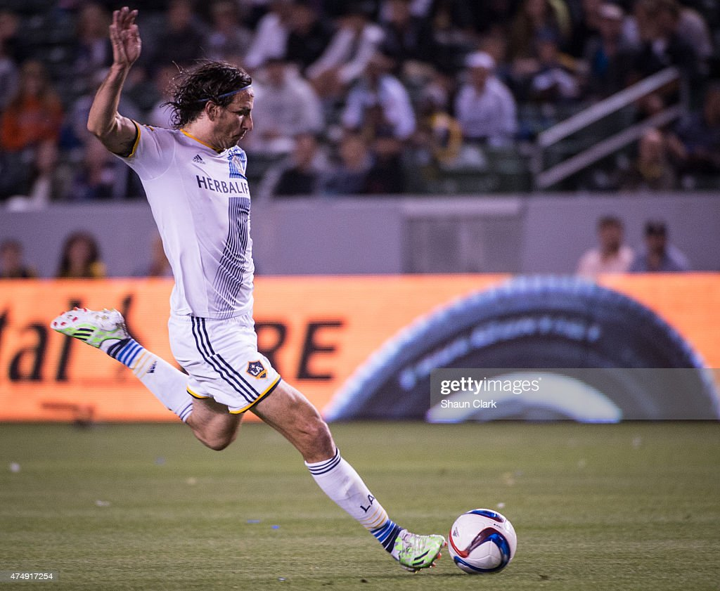 <a gi-track='captionPersonalityLinkClicked' href=/galleries/search?phrase=Alan+Gordon+-+Soccer+Player&family=editorial&specificpeople=11667134 ng-click='$event.stopPropagation()'>Alan Gordon</a> (9) of Los Angeles Galaxy lines up a shot on goal during Los Angeles Galaxy's match against Real Salt Lake at the Stubhub Center on May 27, 2015 in Carson, California. The LA Galaxy won the match 1-0.