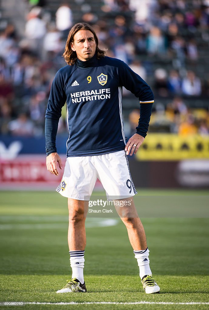 Alan Gordon #9 of Los Angeles Galaxy warms up prior to the Los Angeles Galaxy's MLS match against Portland Timbers at the StubHub Center on April 10, 2016 in Carson, California. The match ended in a 1-1 tie
