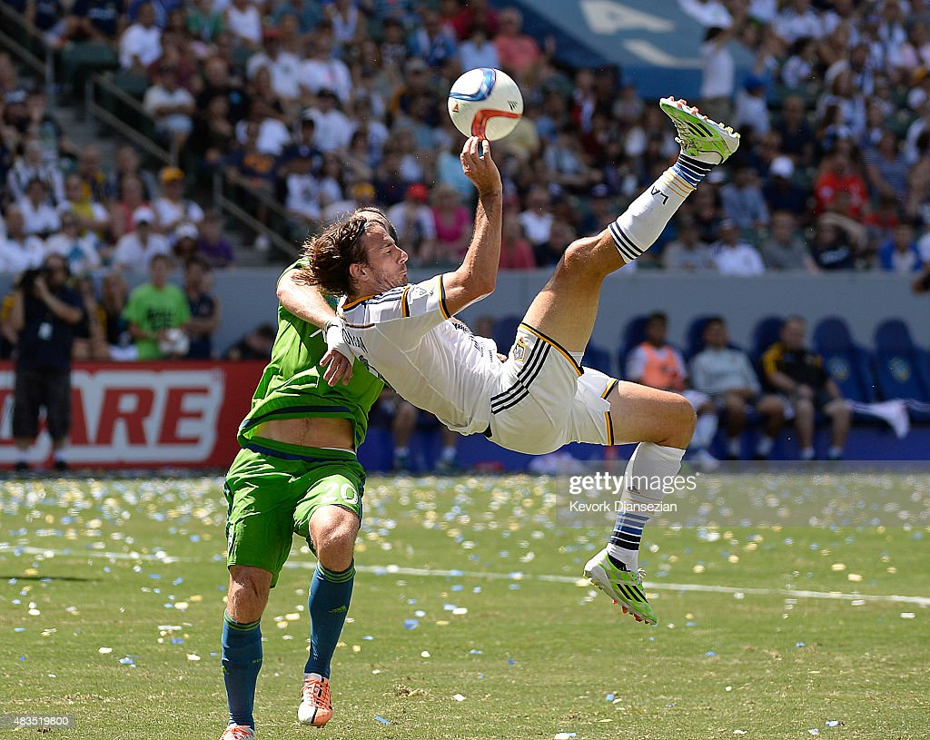 Alan Gordon #9 of the Los Angeles Galaxy makes an over the head kick against Seattle Sounders during the second half at StubHub Center August 9, 2015, in Carson, California.