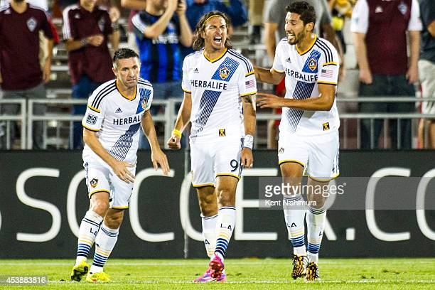 Alan Gorman of Los Angeles Galaxy and his teammates celebrate his goal during a Major League Soccer game at Dick's Sporting Goods Park on Wednesday...