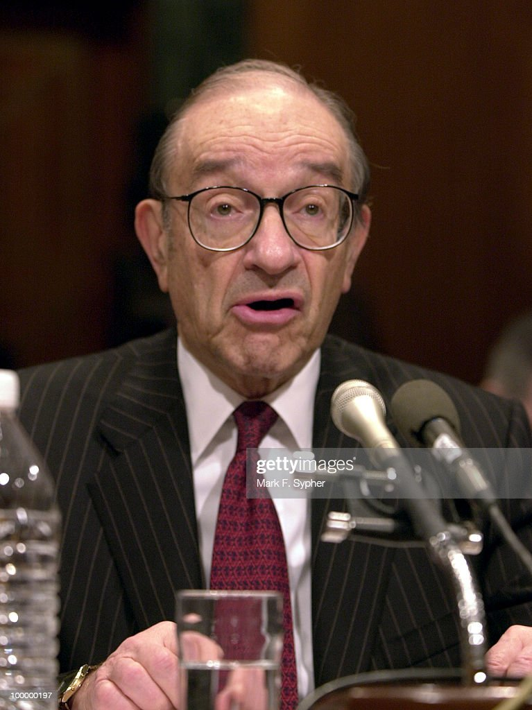 Alan Greenspan during his 18th appearance before the Senate Budget Committee on Thursday.