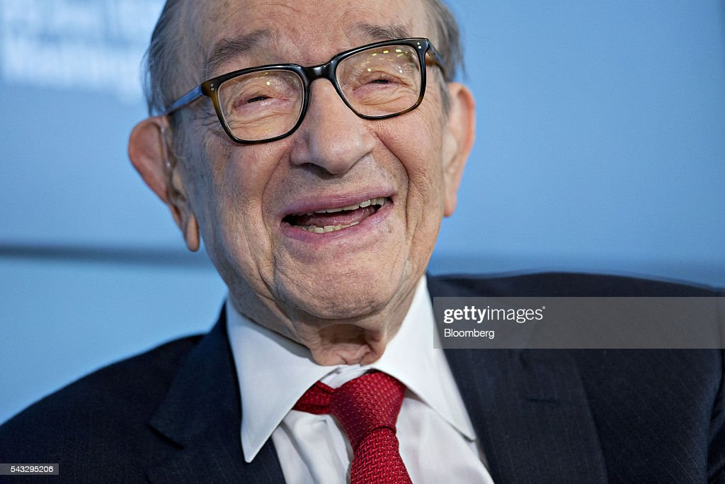 Alan Greenspan, former chairman of the U.S. Federal Reserve and president and founder of Greenspan Associates, smiles during a Bloomberg Television interview in Washington, D.C., U.S., on Monday, June 27, 2016. Greenspan discussed the state of the European Union and Eurozone with the prospect of a second Scottish referendum and his call to get Greece out of the Eurozone. Photographer: Andrew Harrer/Bloomberg via Getty Images