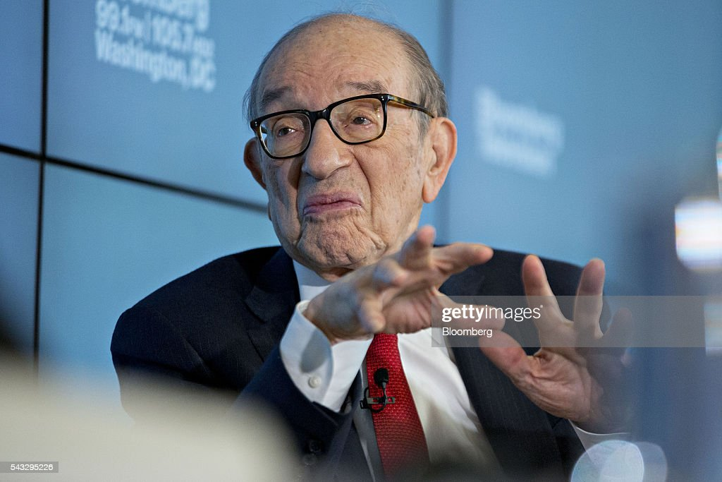 Alan Greenspan, former chairman of the U.S. Federal Reserve and president and founder of Greenspan Associates, speaks during a Bloomberg Television interview in Washington, D.C., U.S., on Monday, June 27, 2016. Greenspan discussed the state of the European Union and Eurozone with the prospect of a second Scottish referendum and his call to get Greece out of the Eurozone. Photographer: Andrew Harrer/Bloomberg via Getty Images