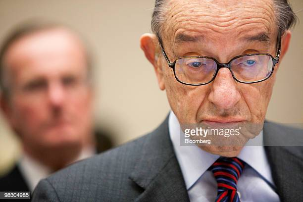 Alan Greenspan former chairman of the US Federal Reserve testifies at a hearing of the Financial Crisis Inquiry Commission in Washington DC US on...