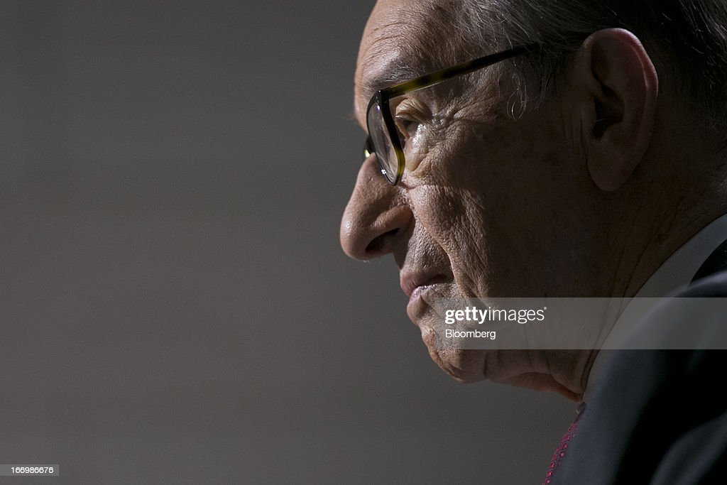 Alan Greenspan, former Federal Reserve chairman and president and founder of Greenspan Associates, pauses during a Bloomberg Television interview at the International Monetary Fund (IMF) and World Bank Group Spring Meetings in Washington, D.C., U.S., on Friday, April 19, 2013. A U.S. budget agreement that includes debt reduction needs to be reached to revive economic growth, Greenspan said. Photographer: Andrew Harrer/Bloomberg via Getty Images