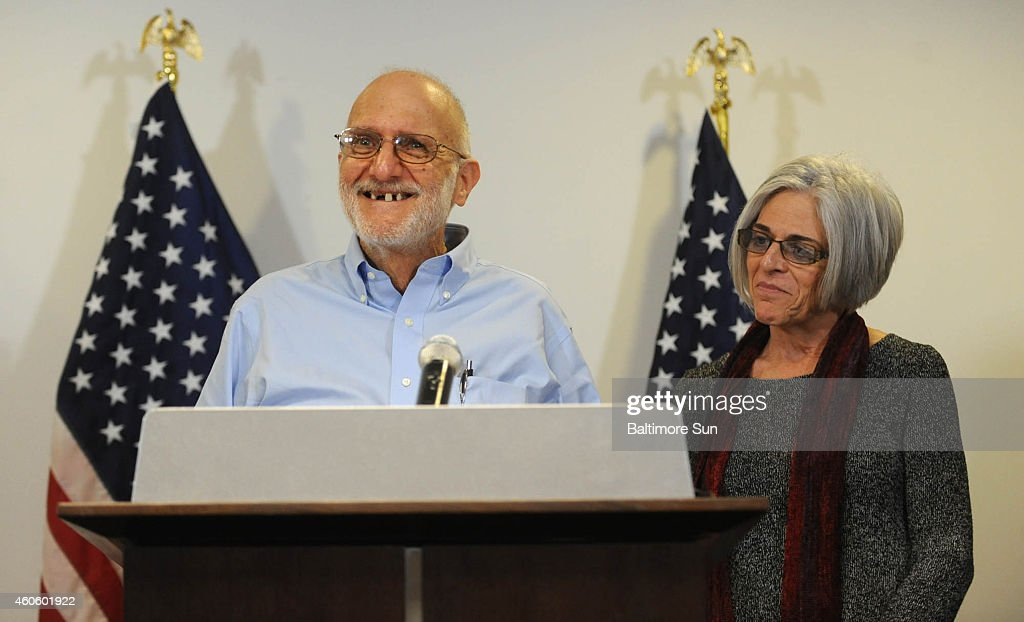 Alan Gross speaks to the press at Gilbert LLP law firm after being released from a Cuban prison on Wednesday, Dec. 17, 2014.