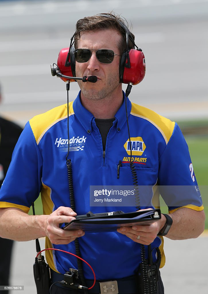 <a gi-track='captionPersonalityLinkClicked' href=/galleries/search?phrase=Alan+Gustafson&family=editorial&specificpeople=3626738 ng-click='$event.stopPropagation()'>Alan Gustafson</a>, crew chief for Chase Elliott, driver of the #24 NAPA Auto Parts Chevrolet, stands on the grid during qualifying for the NASCAR Sprint Cup Series GEICO 500 at Talladega Superspeedway on April 30, 2016 in Talladega, Alabama.