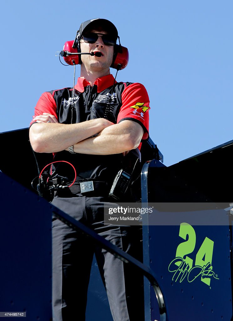 Alan Gustafson crew chief of Jeff Gordon driver of the Drive To End Hunger Chevrolet stands on top of a hauler during practice for the NASCAR Sprint...