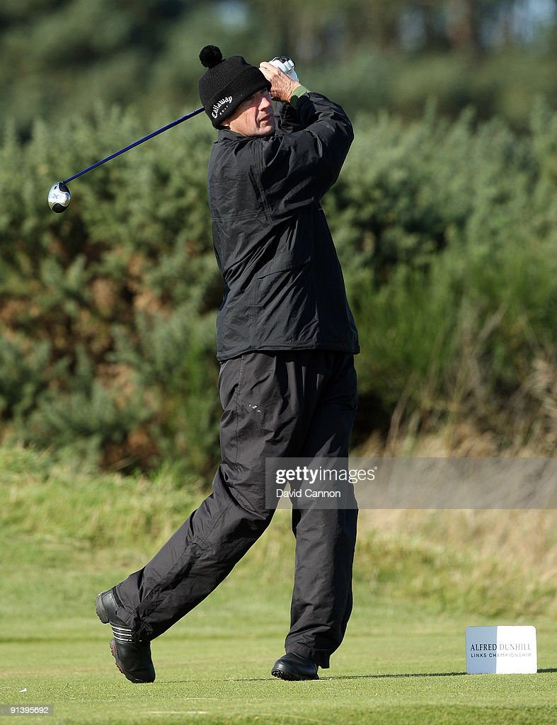 Alan Hansen of Scotland drives at the 15th hole during the third round of the Alfred Dunhill Links Championship at Carnoustie Golf Links on October 4, 2009 in Carnoustie, Scotland. The third round was postponed on saturday due to gale force winds.