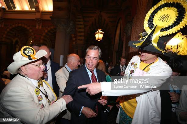 Alan Howling Laud Hope Leader of the Monster Raving Looney Party with Nigel Farage UKIP Leader and Nick 'The Flying' Brick Newark Candidate during...