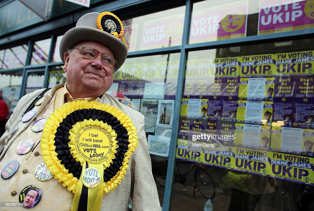 Alan 'Howling Laud' Hope of the Monster Raving Loony Party campaigns for the forthcoming by-election outside the UKIP office on February 26, 2013 in Eastleigh, England. The by-election is being fought for the former seat of ex-Liberal Democrat MP Chris Huhne and will be held on February 28, 2013.