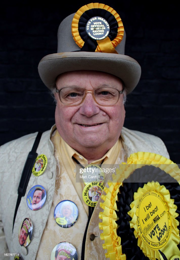 Alan 'Howling Laud' Hope of the Monster Raving Loony Party poses for a photograph as he campaigns for the forthcoming by-election outside the UKIP office on February 26, 2013 in Eastleigh, England. The by-election is being fought for the former seat of ex-Liberal Democrat MP Chris Huhne and will be held on February 28, 2013.