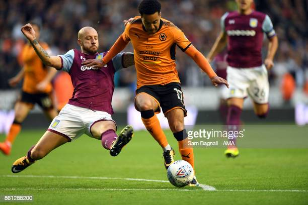 Alan Hutton of Aston Villa and Helder Costa of Wolverhampton Wanderers during the Sky Bet Championship match between Wolverhampton and Aston Villa at...