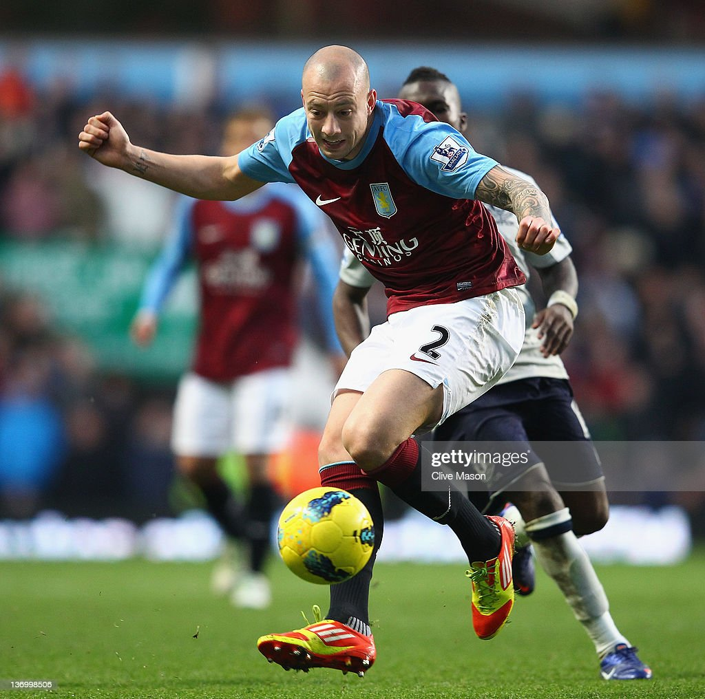 <a gi-track='captionPersonalityLinkClicked' href=/galleries/search?phrase=Alan+Hutton&family=editorial&specificpeople=839355 ng-click='$event.stopPropagation()'>Alan Hutton</a> of Aston Villa in action during the Barclays Premier League match between Aston Villa and Everton at Villa Park on January 14, 2012 in Birmingham, England.