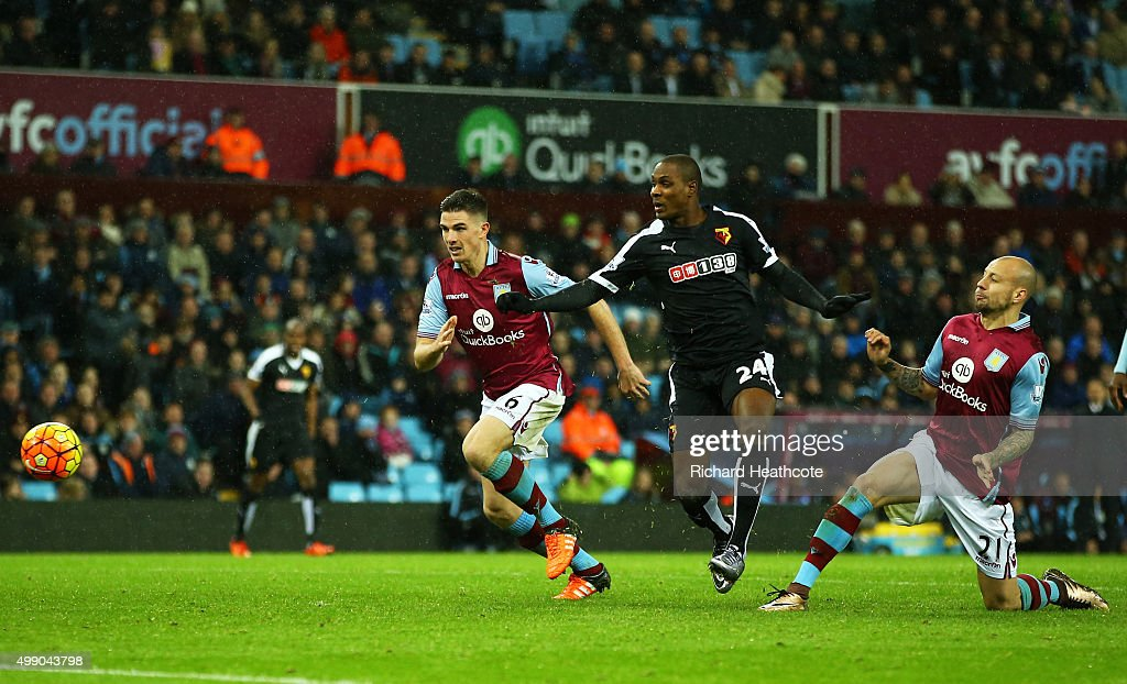 <a gi-track='captionPersonalityLinkClicked' href=/galleries/search?phrase=Alan+Hutton&family=editorial&specificpeople=839355 ng-click='$event.stopPropagation()'>Alan Hutton</a> (1st R) of Aston Villa kicks the ball resulting in the own goal during the Barclays Premier League match between Aston Villa and Watford at Villa Park on November 28, 2015 in Birmingham, England.