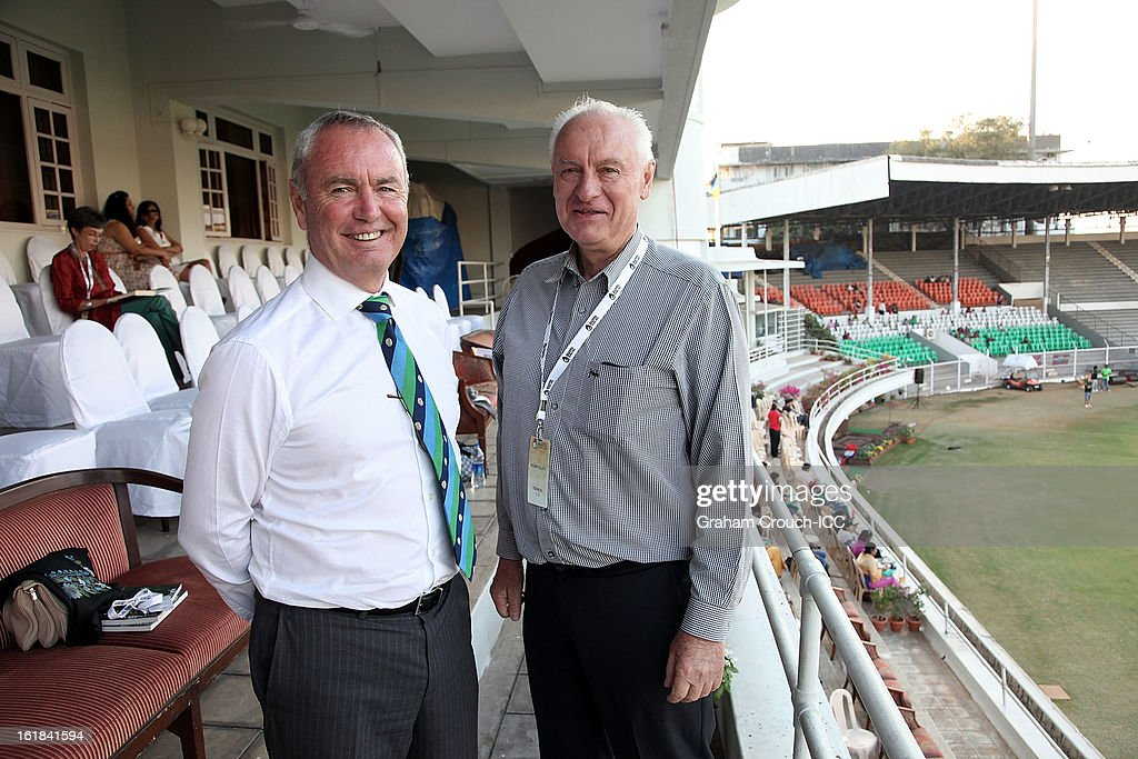 Alan Isaac, President of the ICC and Wally Edwards , Chairman of Cricket Australia in the hospitality area during the final between Australia and West Indies of the Women's World Cup India 2013 played at the Cricket Club of India ground on February 17, 2013 in Mumbai, India.