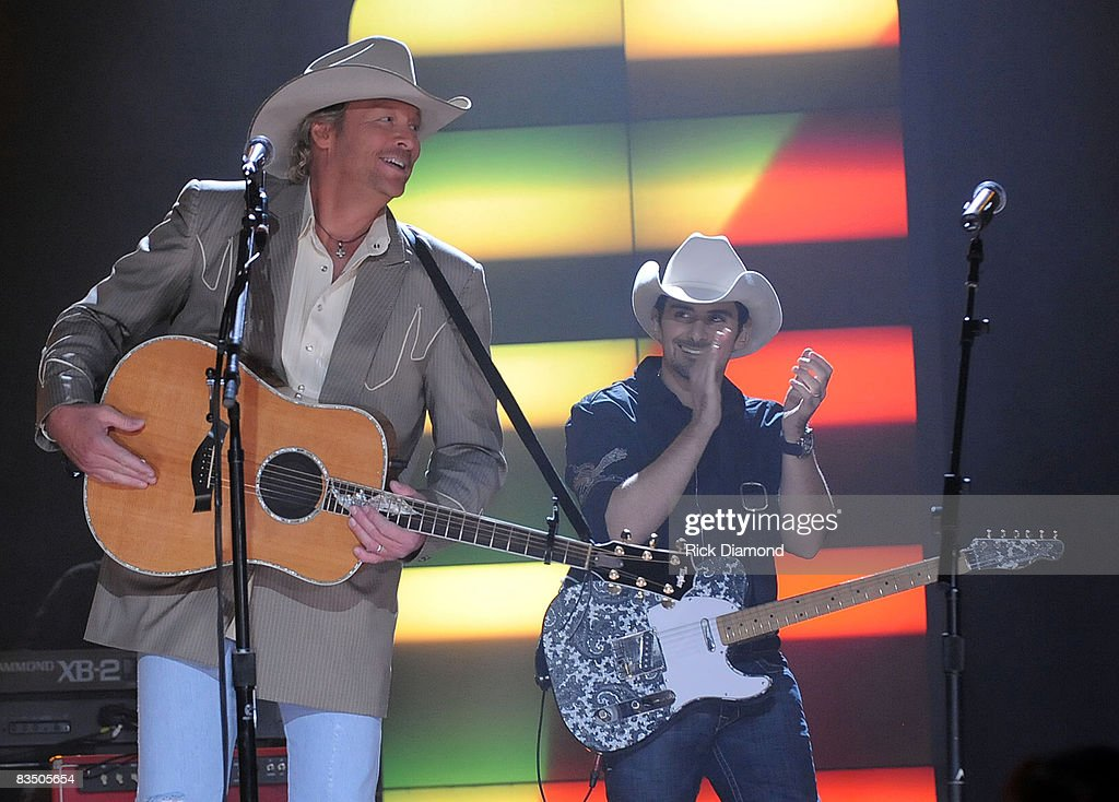 Alan Jackson and Brad Paisley at the Taping of CMT 'GIANTS' Honoring Alan Jackson at The Ryman Auditorium on October 30, 2008 in Nashville, Tennessee. CMT 'GIANTS' airs December 6, 2008 at 9pm ET only on CMT.
