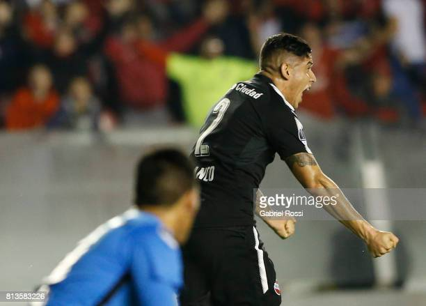 Alan Javier Franco of Independiente celebrates after scoring the first goal of his team during the first leg match between Independiente and Deportes...