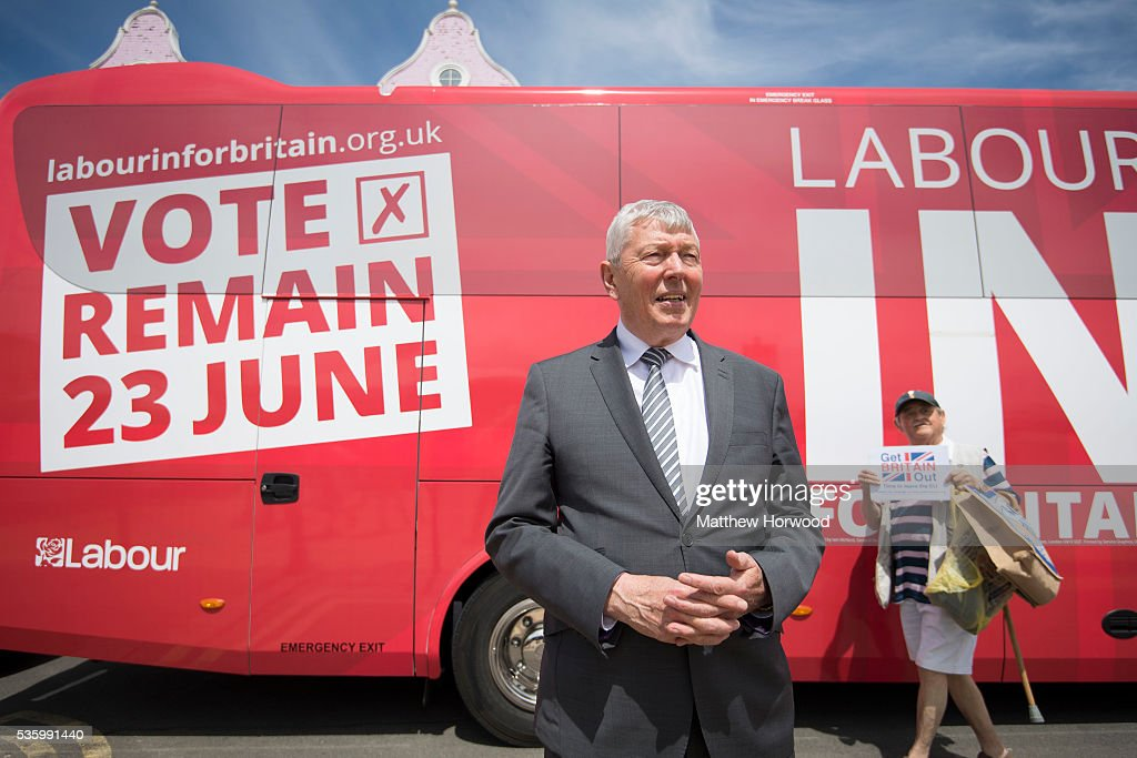 Alun Johnson, Labour MP and former Home Secretary, poses for a picture during a visit to Barry with the the Labour IN for Britain campaign battle bus on May 31, 2016 in Barry, Wales. Britain will vote either to leave or remain in the EU in a referendum on June 23.